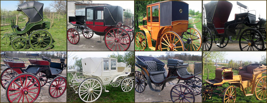 CEZAM horse carriages chaises sleighs antics wheels wicker seats